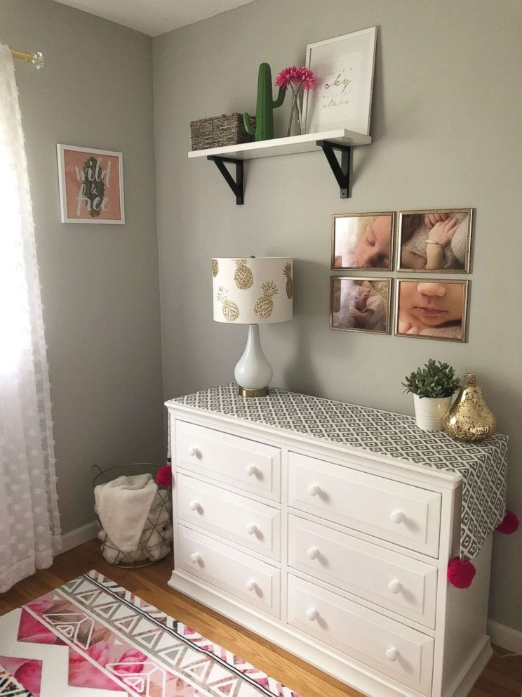 PHOTO: Julie Dwyer of Massapequa, New York, mixed prints with metallic accents when decorating her baby Camerons bedroom.