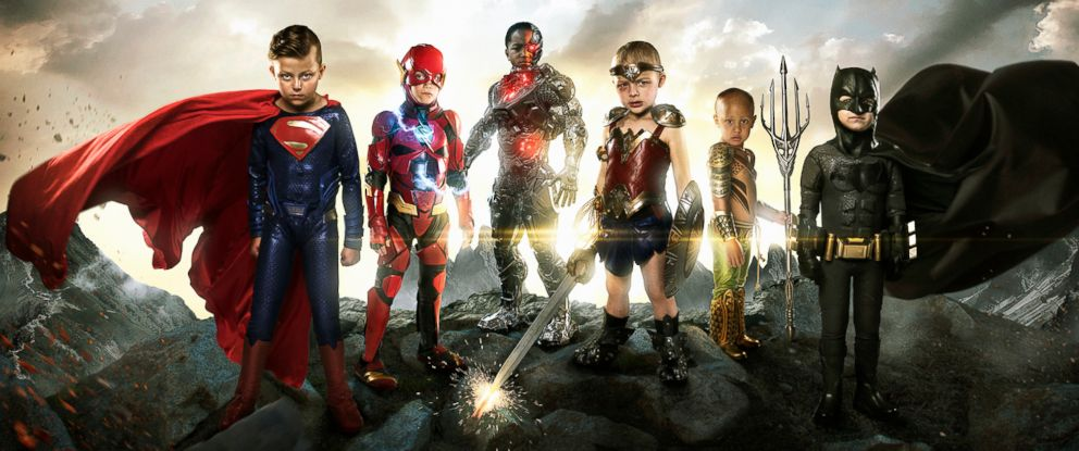 PHOTO: Teagan Pettit as Superman, Simon Fullmer as Batman, Kayden Kinckle as Cyborg, Sofie Loftus as Wonder Woman, Mataese Manuma as Aquaman, and Simon Fullmer as Batman.