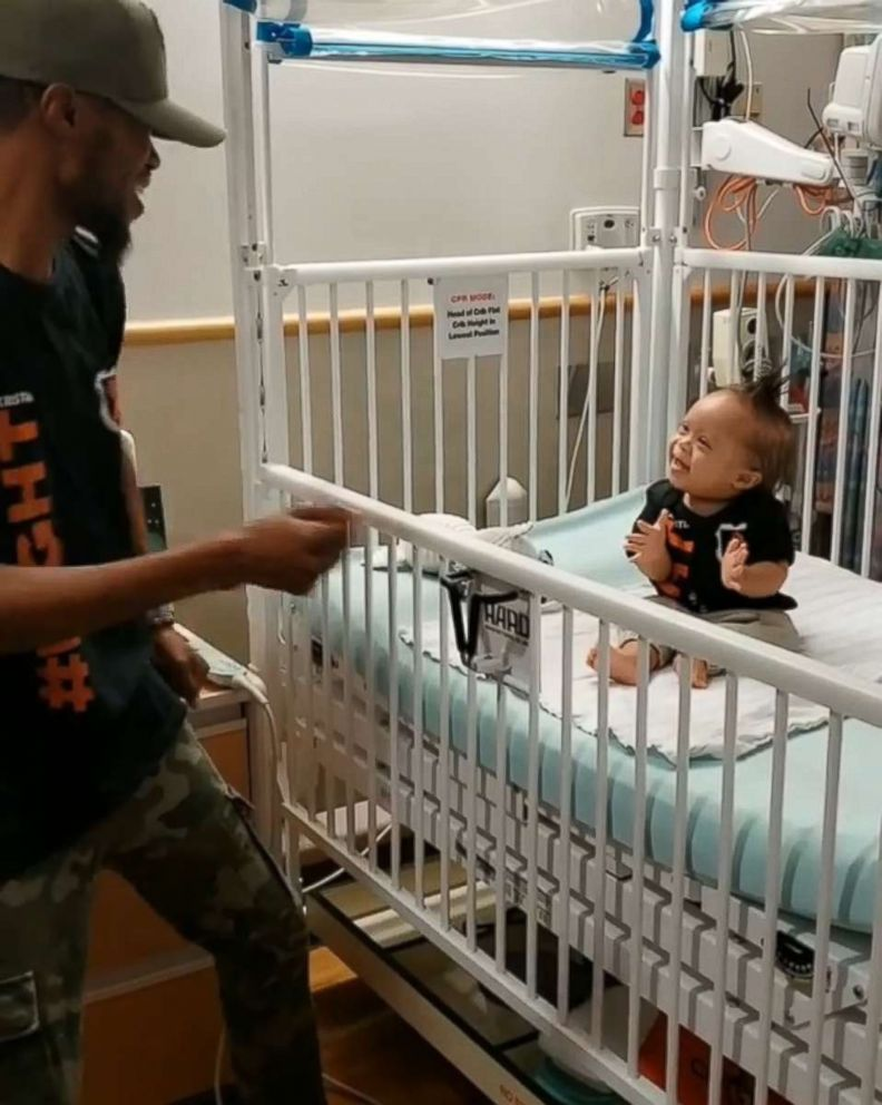 Kenny Thomas, 34, Kenny Thomas, 34, danced for his 1-year-old, Kristian, at Children's Hospital of Philadelphia.danced for his 1-year-old, Kristian, at Children's Hospital of Philadelphia.