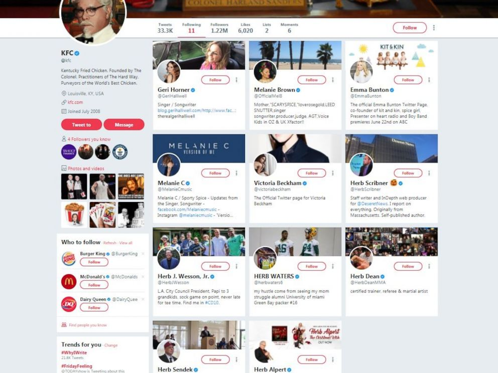 PHOTO: KFC follows 6 men named Herb and 5 of the Spice Girls on Twitter.