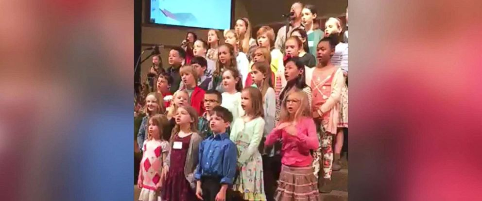 PHOTO: Loren Patterson, 6, of Dickson, Tenn., bottom right, delivered a show-stopping performance in her church choir.