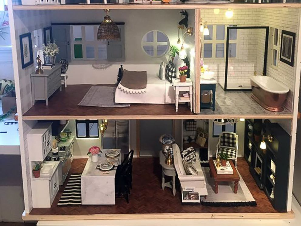 PHOTO: Kwandaa Roberts hand-painted and built furniture for her Fixer Upper inspired-dollhouse.