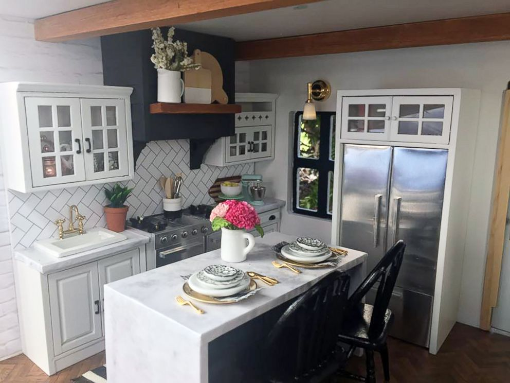 PHOTO: The kitchen inside the Fixer Upper-inspired dollhouse created by Kwandaa Roberts.