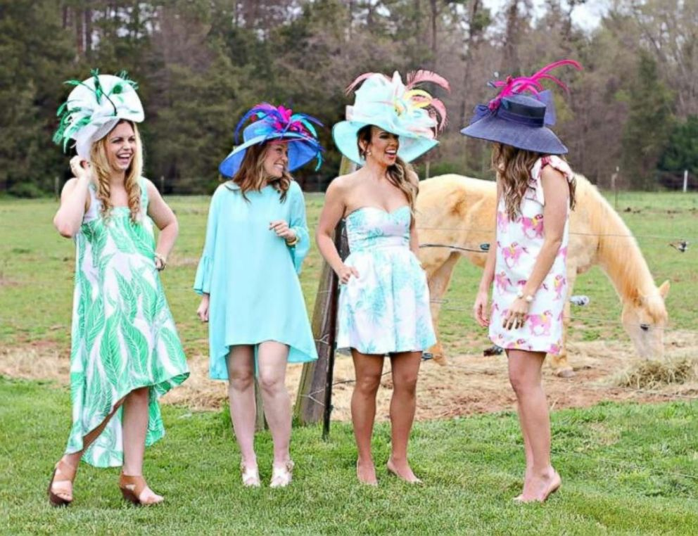 PHOTO: Friends pose at a Kentucky Derby-inspired party, which was featured on the blog, Hostess with the Mostess.