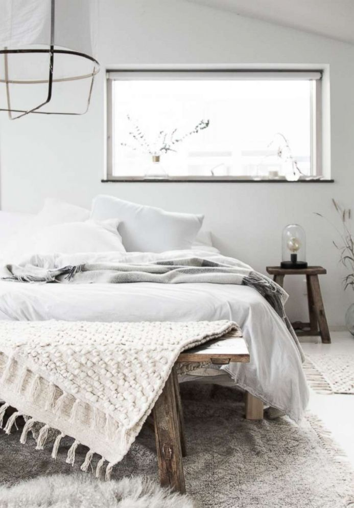 PHOTO: A bedroom in Niki Brantmark.s home in Sweden features principles of the Lagom design philosophy.