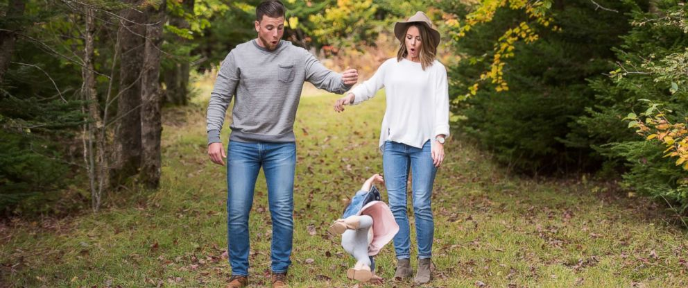 PHOTO: Patrick LeBlanc, Brianna LeBlanc and Reid LeBlanc, 2, of Halifax, Nova Scotia, got lots of laughs on the Internet after this photo was shared of the toddler falling in the midst of a family photo shoot.