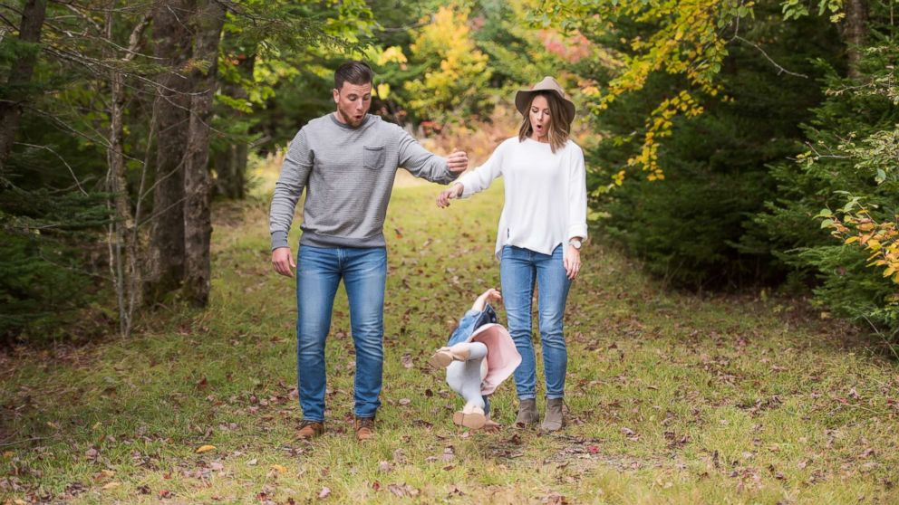Patrick LeBlanc, Brianna LeBlanc and Reid LeBlanc, 2, of Halifax, Nova Scotia, got lots of laughs on the Internet after this photo was shared of the toddler falling in the midst of a family photo shoot.