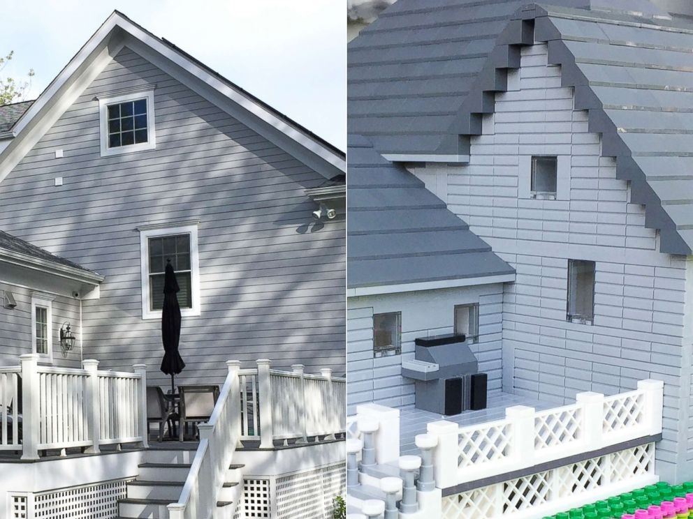 PHOTO: The actual backyard of a home appears here next to a Lego model made by Shari Austrian.