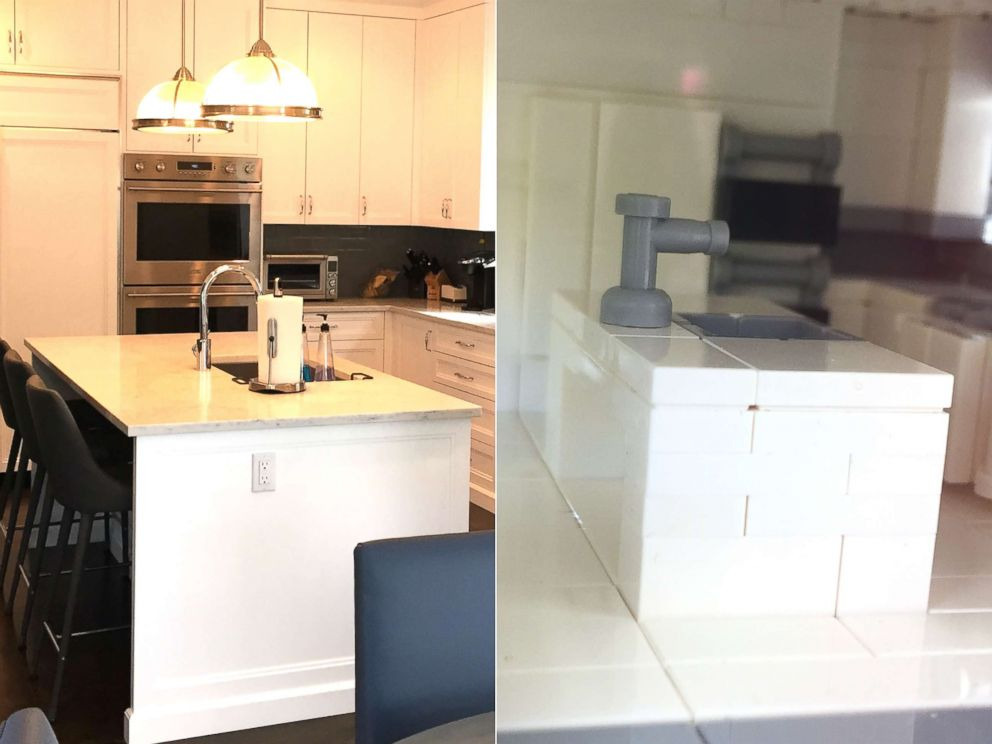 PHOTO: The kitchen of a home appears here next to a Lego model made by Shari Austrian.