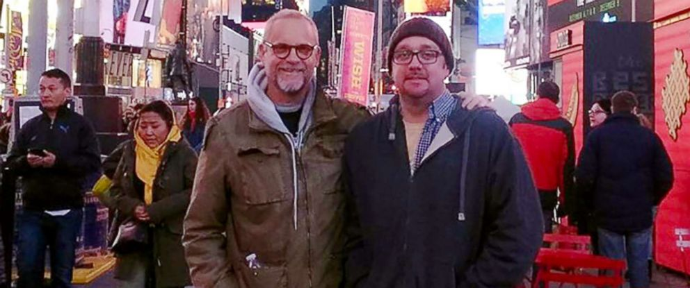 PHOTO: Robert Leibowitz and his kidney donor Richie Sully in Times Square.