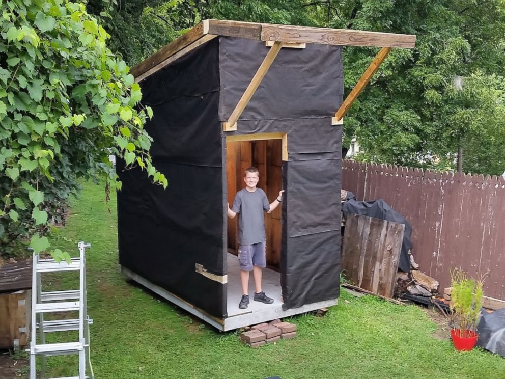 PHOTO: Luke Thill, 13, raised $1,500 and spent nearly one year constructing  a - 13-year-old Builds $1,500 Tiny House In Family's Backyard - ABC News