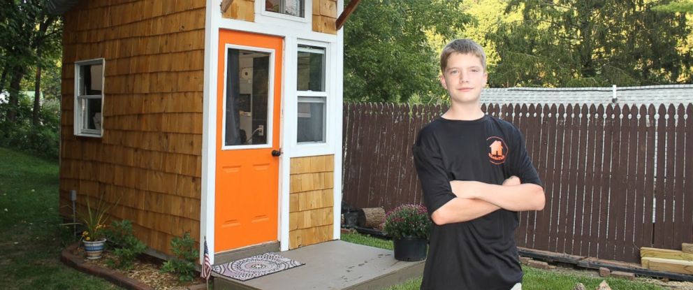 PHOTO: Luke Thill, 13, raised $1,500 and spent nearly one year constructing a tiny home in the backyard of his familys Dubuque, Iowa home.