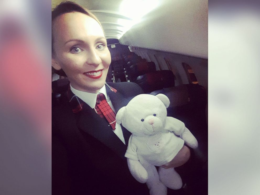 PHOTO: Loganair cabin crew member Kirsty Walter with the teddy bear of 4-year-old Summer, whose last name was asked to be withheld.