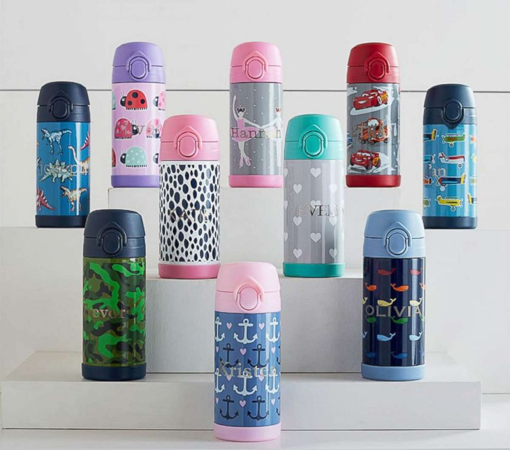 PHOTO: Monogrammed water bottles like these are shown from Pottery Barn Kids.