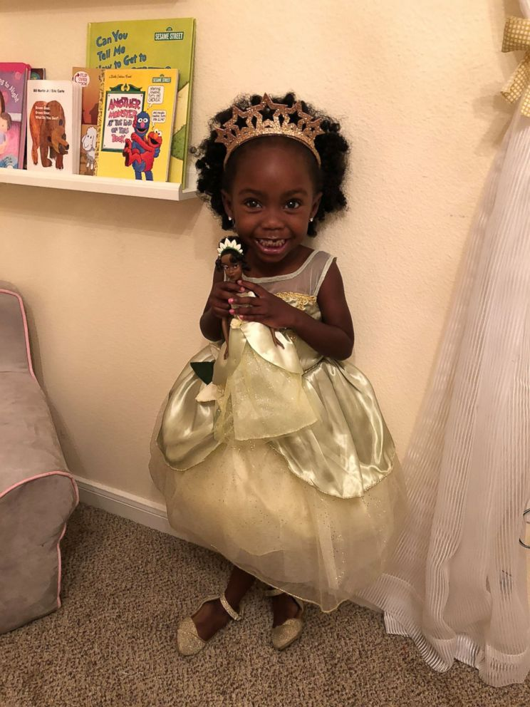 PHOTO: Madison Jade Strickland, 3, poses in a recent photo with her Princess Tiana doll.