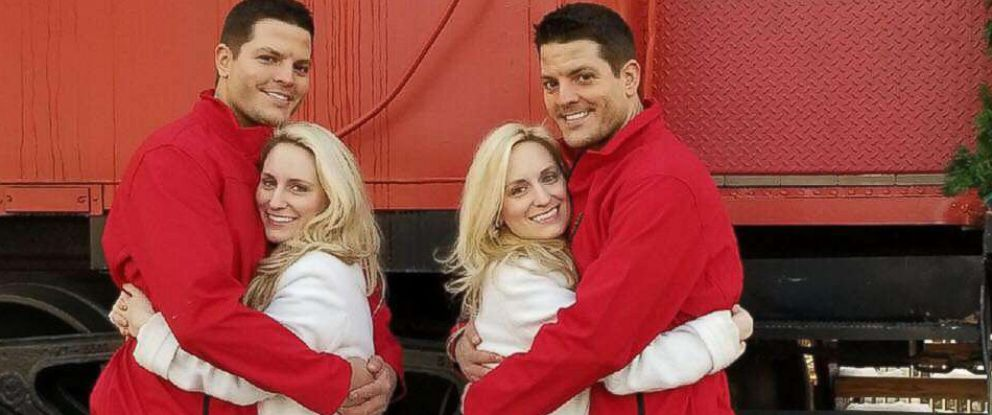 PHOTO: Twins Josh and Jeremy Salyers with their soon-to-be-wives twins Brittany and Briana Deane.
