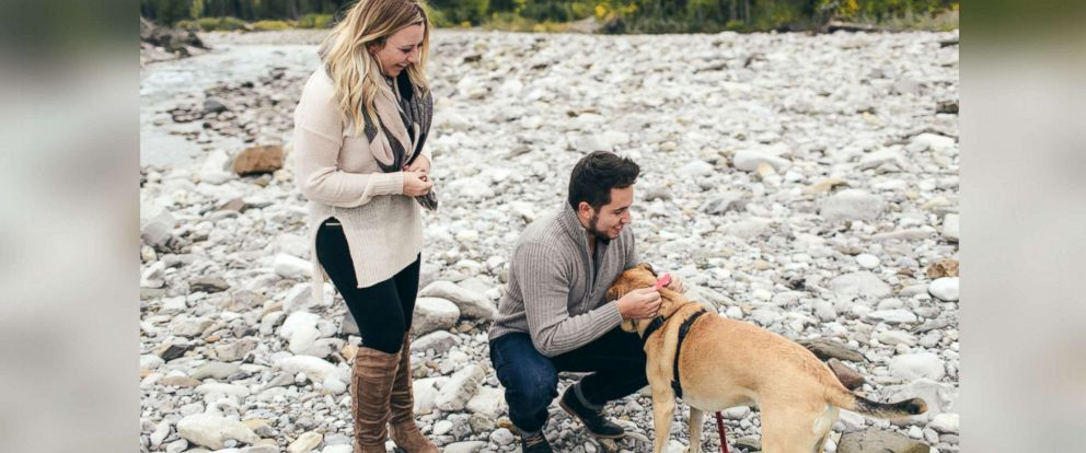 PHOTO: Ryan Balfour proposed to his fiance, Darion Getzinger, before proposing to their dog, Maia, with a pink rhinestone collar in Alberta, Canada, on Sept. 24.