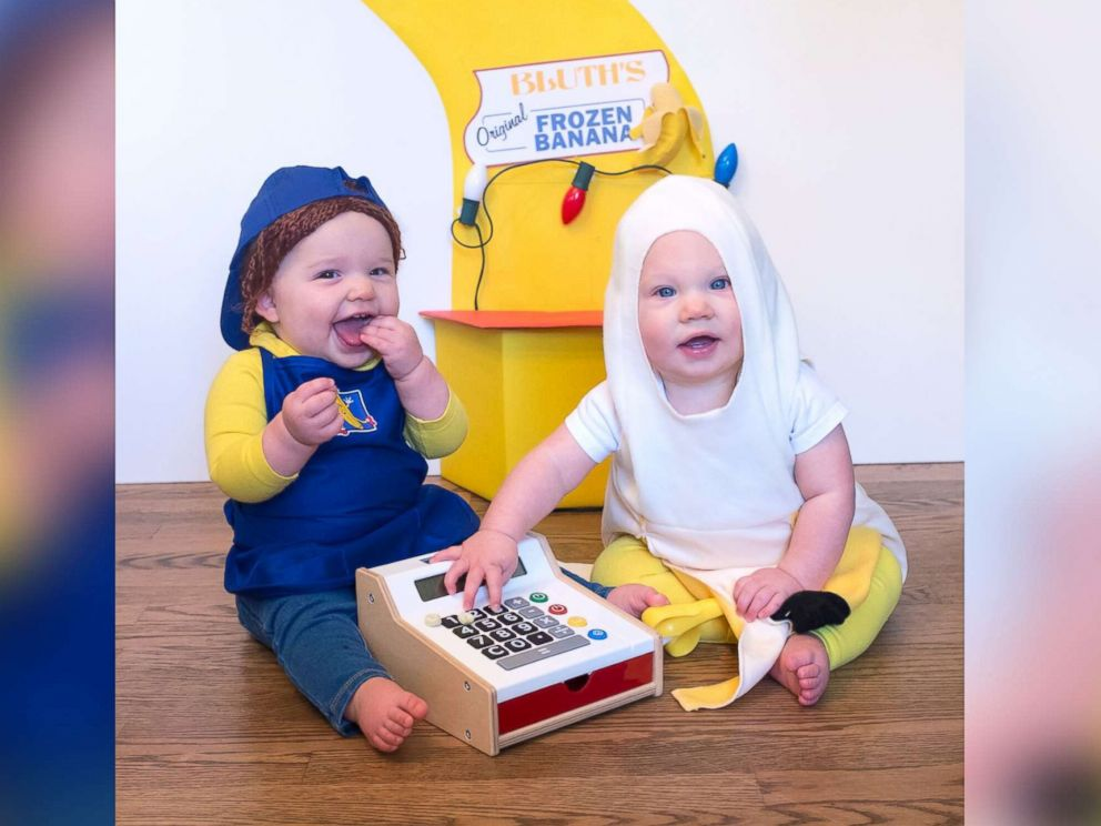 PHOTO: Lera and Marigold Mancke, 8-month-old twins, pose as characters from Arrested Development.