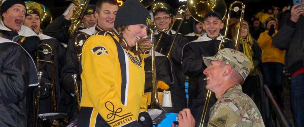 PHOTO: Isaac Anderson surprised his longtime girlfriend, Grace Schebler, during her marching band performance at the University of Iowa football game on Oct. 28, 2017.