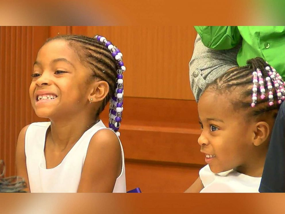 PHOTO:Sisters Marianna, 6, and Keyora, 3, July 27, 2017, at their adoption ceremony at Judge Ralph Winklers courtroom at Hamilton County Probate Court in Cincinnati.