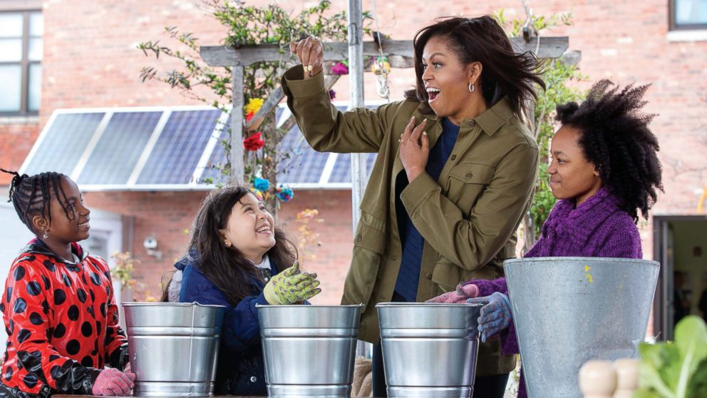Mrs. Obama learns about composting with students at Philip's Academy Charter School in Newark, N.J., April 7, 2016.