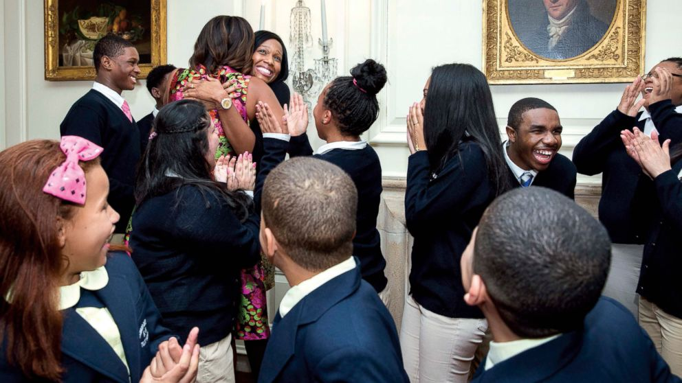 Michelle Obama surprises students from Turnaround Art, Feb 24, 2014, in the Map Room of the White House.