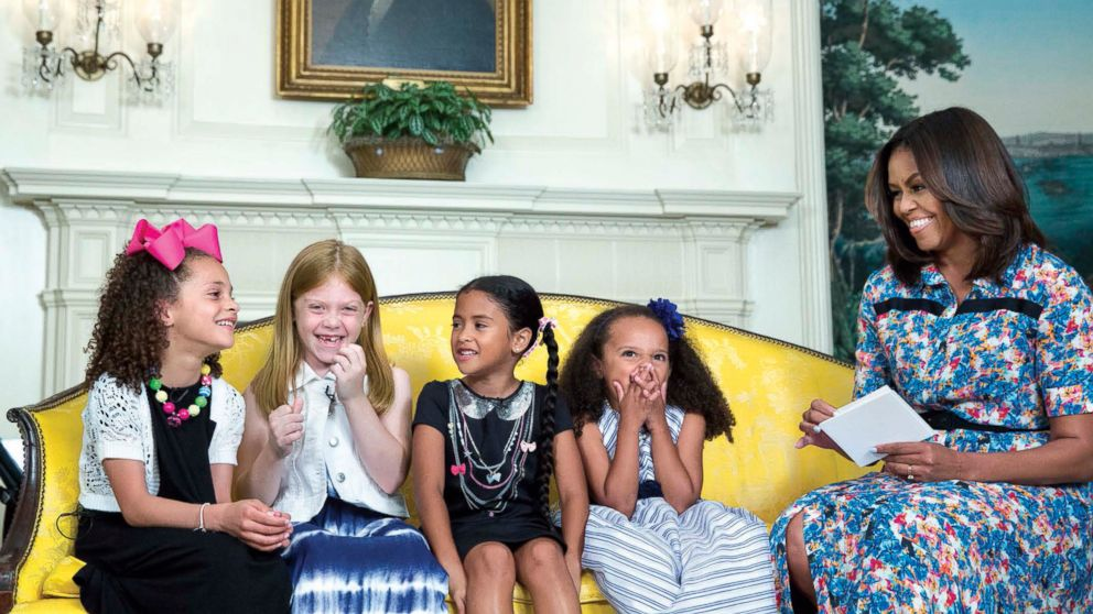Michelle Obama received travel advice from girls during a taping for Cosmopolitan in the Diplomatic Reception Room, June 22, 2016.