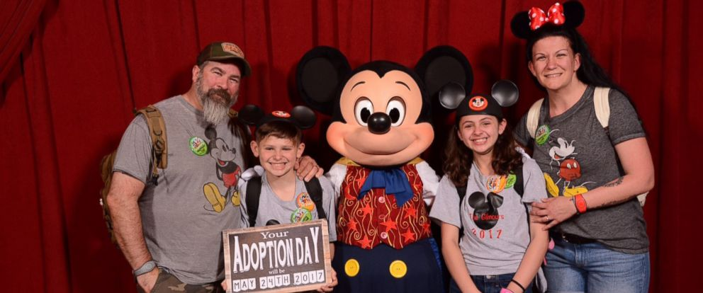 PHOTO: Janielle and Elijah Gilmour of Portland, Pennsylvania, were surprised to learn their adoption date at Disneys Magic Kingdom.