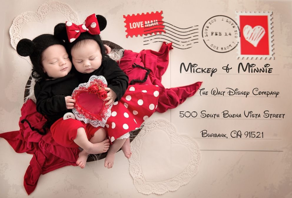 PHOTO: Babies dressed as Mickey and Minnie for Valentine's Day are the sweetest.