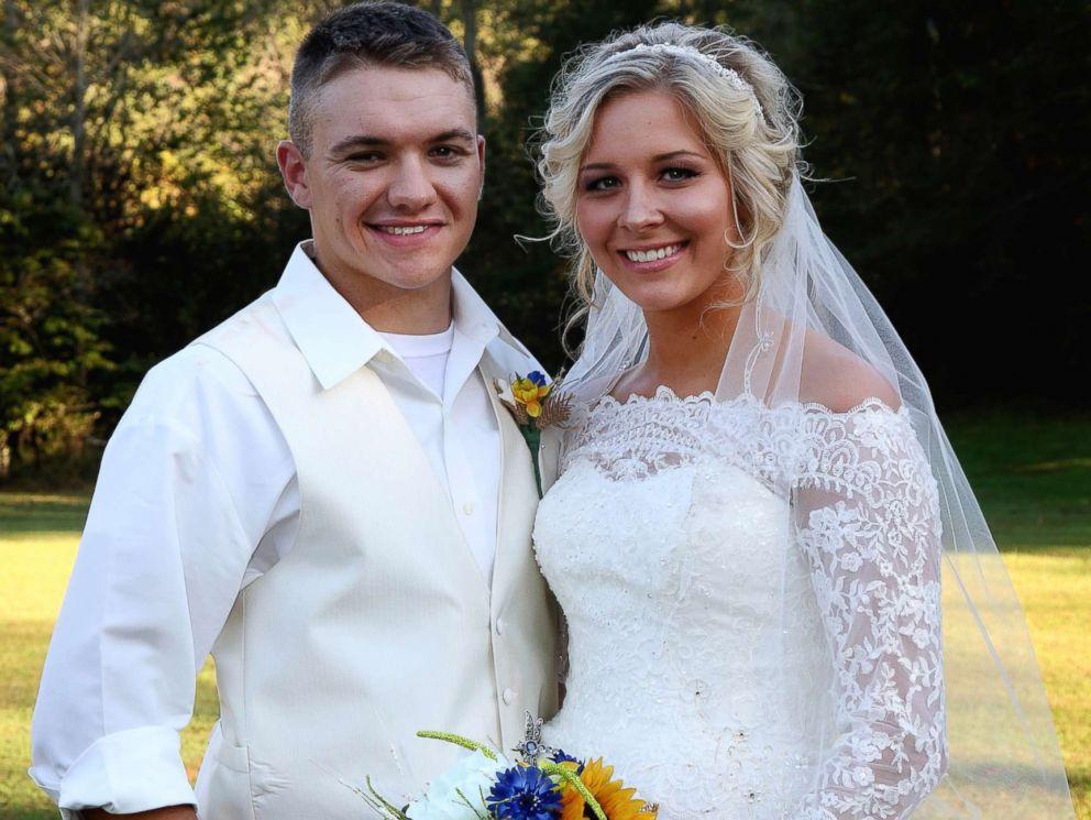PHOTO: Newlyweds Mikayla and Dakota Wroten smile for the camera on their Oct. 14 wedding day.