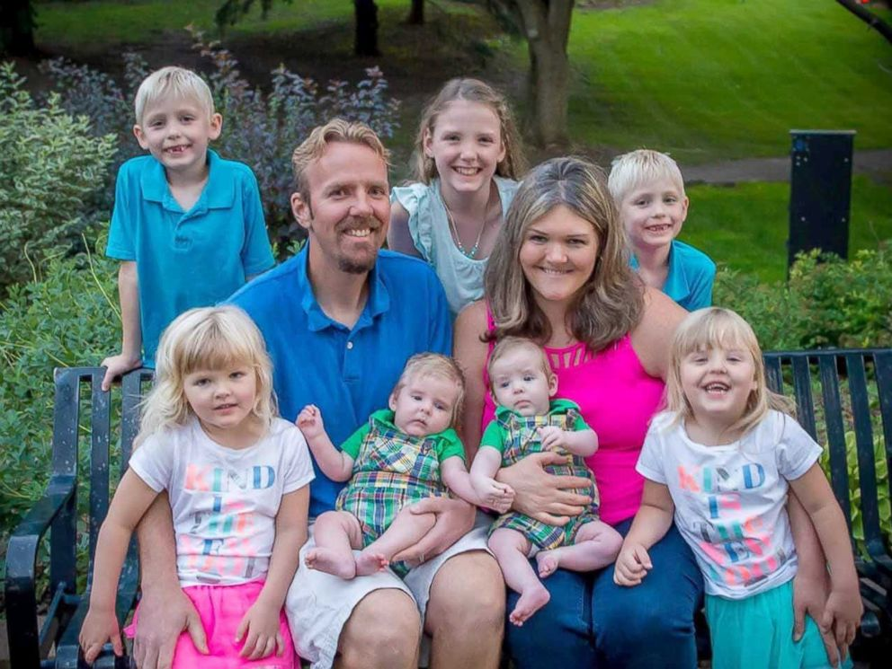 PHOTO: Julie, 40 and Lance, 39, seen in this undated photo with their daughter Kaitlyn, 9, and their three sets of twins, Cody and Caleb, bith 6, Chelsea and Kelsea, both 4, Caden and Colton, both 10 months.
