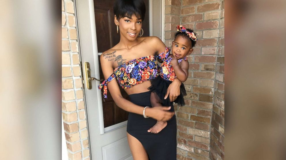 Alexis Brown, 19, of Austin, Texas, makes matching outfits to sport with her daughter, Khloe.
