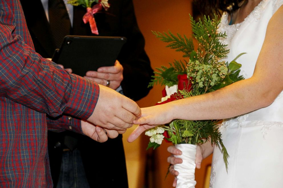 PHOTO: Nathan and Whitney Romans are pictured on their wedding day, Dec. 10, 2017, at St. Lukes Magic Valley Medical Center in Twin Falls, Idaho.