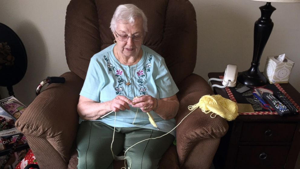 90-year-old grandmother Barbara Lowe hand knits hats for newborns at Hillcrest Hospital in Mayfield Heights, Ohio.