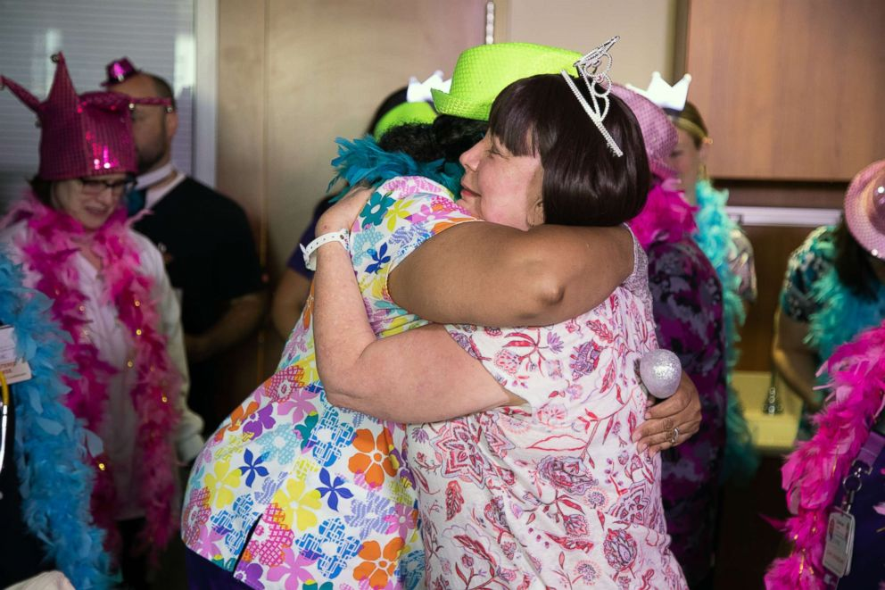 PHOTO: When a patient is finished with their rounds of chemo they get released with a big celebration.