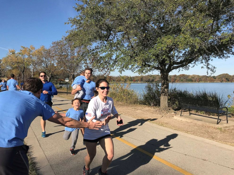 PHOTO: Members of Orville Rogers family ran 100 cumulative miles around White Rock Lake in Dallas, Texas, last Saturday, to celebrate his 100th birthday.