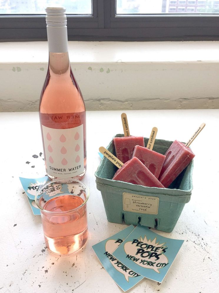 PHOTO: The strawberry verbena rose boozy popsicle is a partnership with Peoples Pops and Summer Water wine just for National Rose Day!