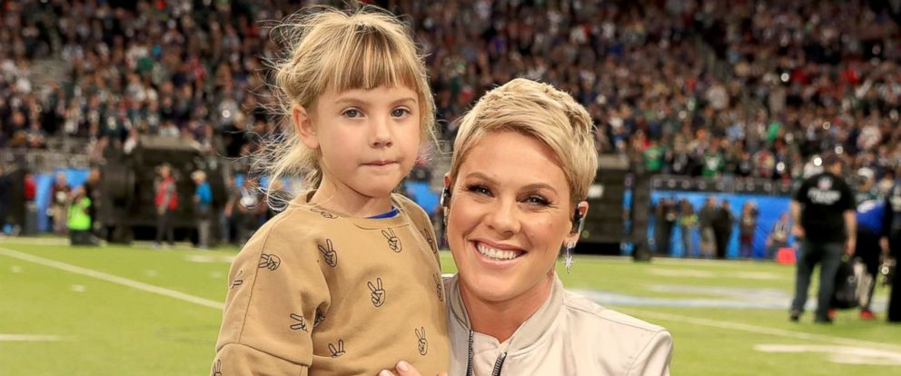 PHOTO: Pink with daughter Willow Sage Hart before the National Anthem during the Super Bowl LII Pregame show Feb. 4, 2018, in Minneapolis.