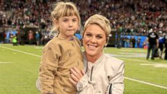 PHOTO: Recording artist Pink poses with daughter Willow Sage Hart before the National Anthem during the Super Bowl LII Pregame show Feb. 4, 2018 in Minneapolis.