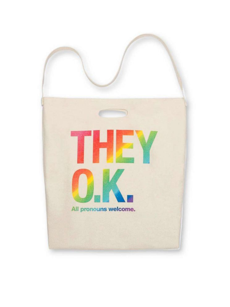 55b3d8506999 PHOTO  This canvas tote bag from American Apparel features a They O.K. All  pronouns welcome