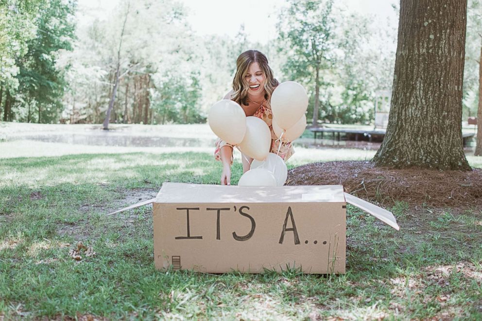 Joy Stone, 25, of Melissa, Texas, was photographed with her new dog in a baby-gender-reveal-style photo shoot.
