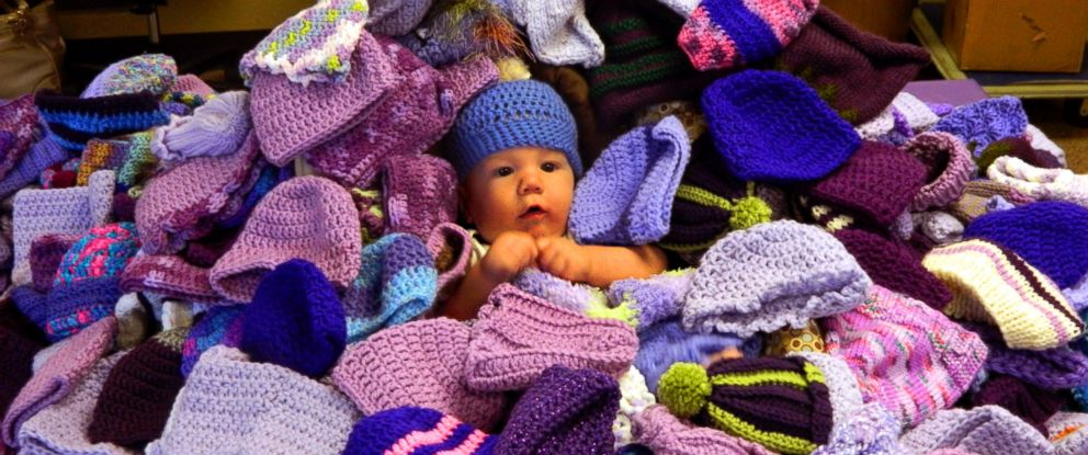 PHOTO: LaBetta Wallenmeyer photographed her granddaughter surrounded by the purple hats.