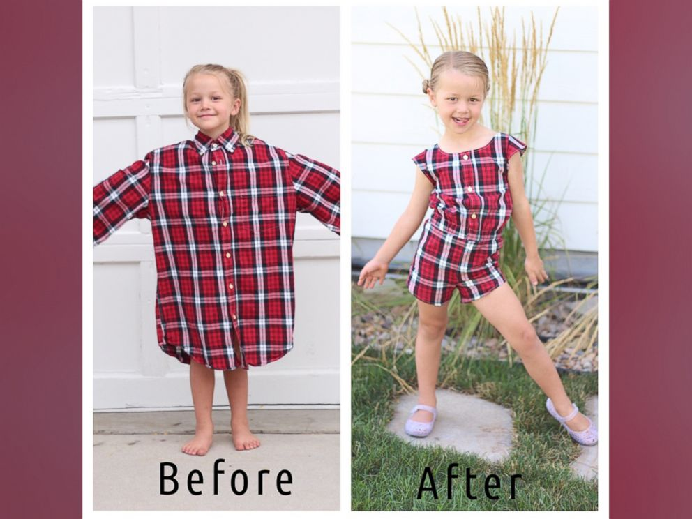 PHOTO: Stephanie Miller of Salt Lake City, Utah, makes dresses for her daughters out of husbands old shirts.