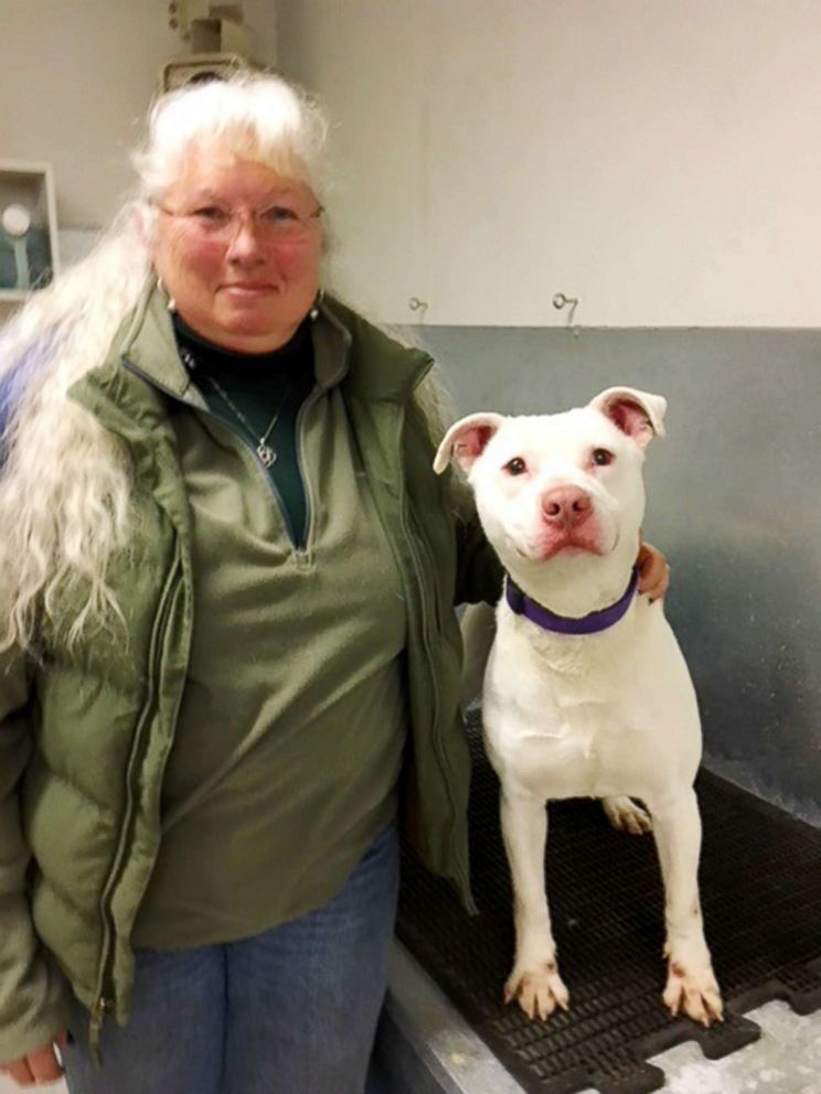PHOTO: Barb Davenport, K-9 program manager for the Washington Department of Corrections, poses with Ghost.