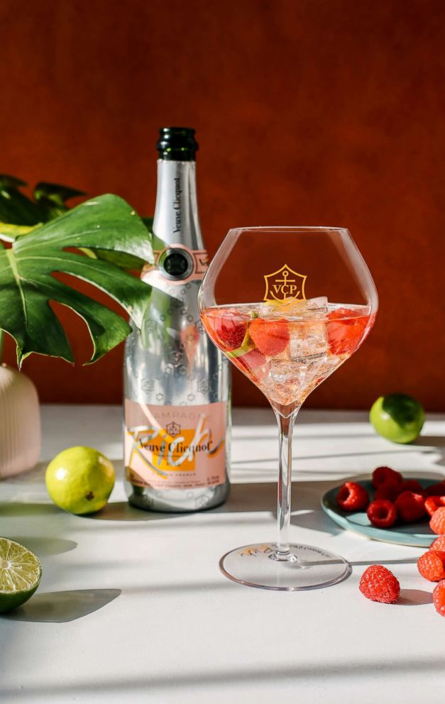 PHOTO: Veuve Clicquot Rich limited edition rose champagne raspberry lime cocktail.
