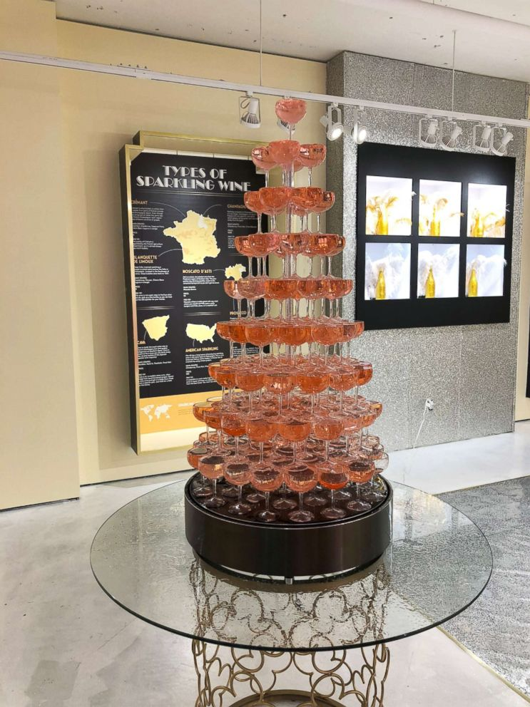 PHOTO: This rose tower is mesmerizing as the pink drink flows from top to bottom.