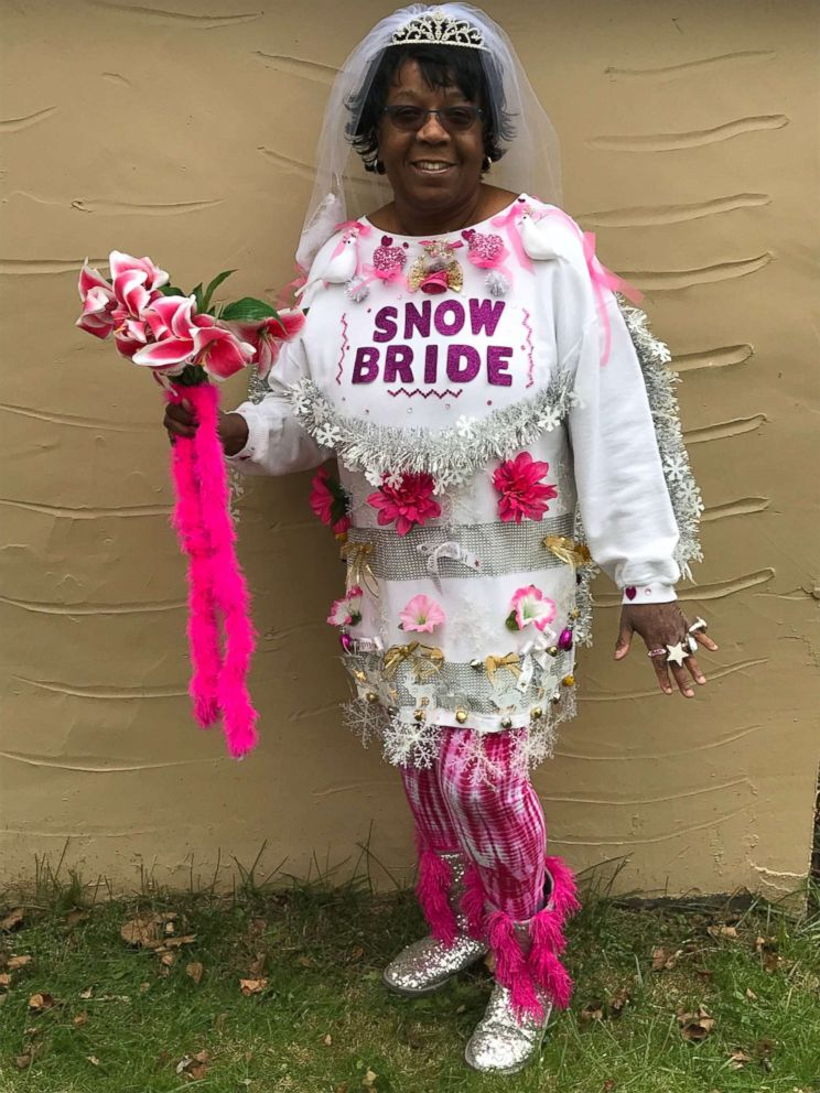 PHOTO: Roxann Gunn of New Castle, Penn., said her Snow Bride sweater is covered in flowers, a tiara, veil, a bouquet and lots of rings.