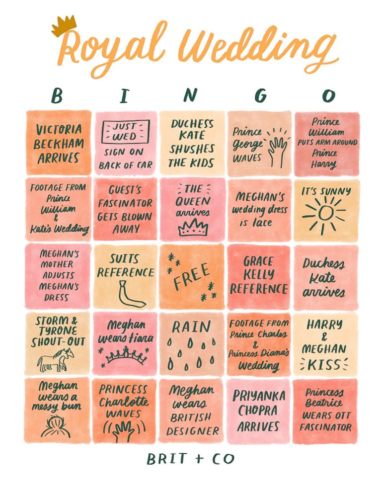 PHOTO: Brit + Co created a bingo card for Prince Harry and Meghan Markles May 19 wedding.