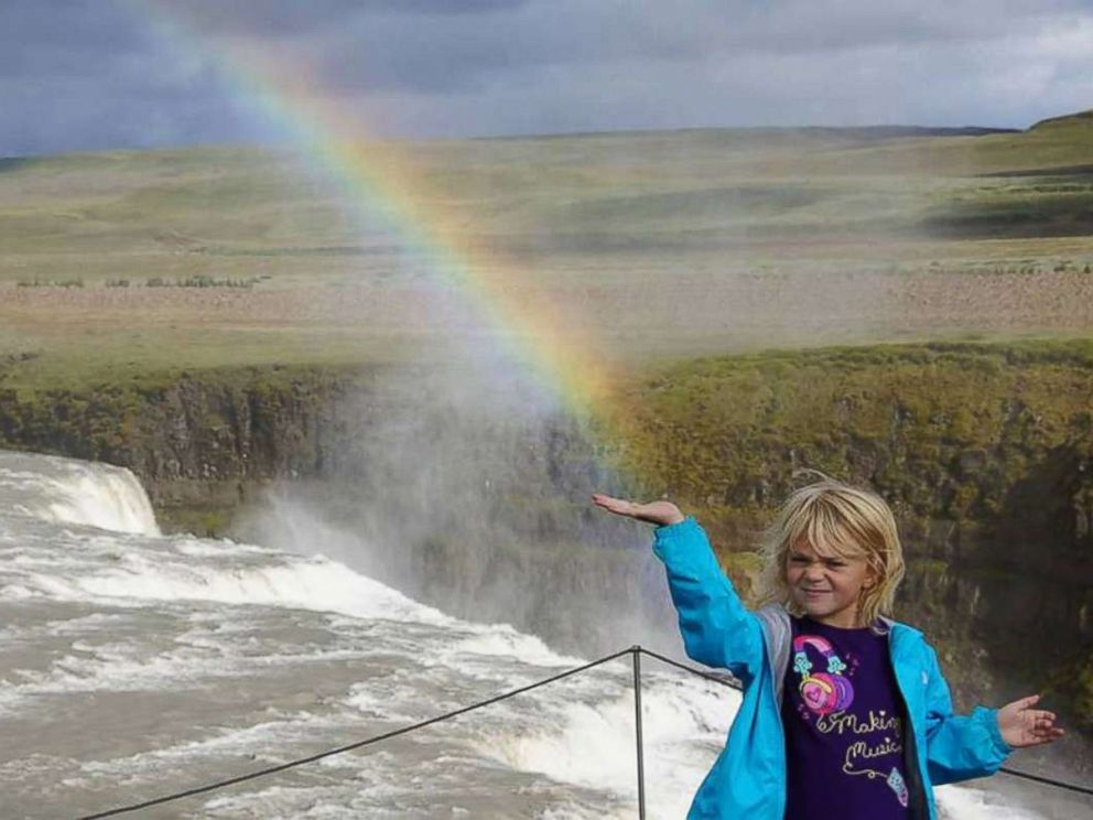 PHOTO: A little girl named Samantha Sparks of Baltimore, 7 years old at the time, photographed in front of a rainbow while vacationing with her family in Iceland in August 2013.