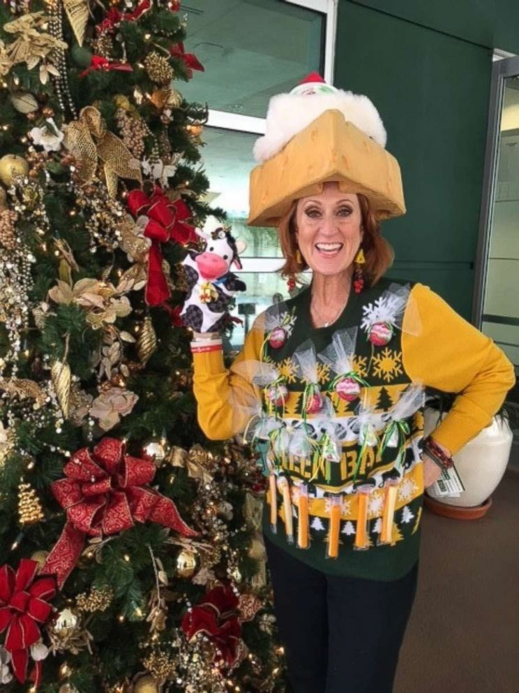 PHOTO: Sandra Nelson of Tampa, Fla., said she is a true cheese head from Wisconsin and created the sweater to prove it.